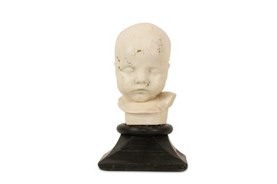 Lot 23-A LATE 19TH / EARLY 20TH CENTURY PAINTED PLASTER BABY DEATH MASK