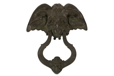 Lot 33-A 19TH CENTURY CAST IRON DOOR KNOCKER MODELLED WITH A DEVIL