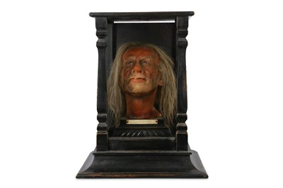 Lot 25-A 19TH CENTURY CASED WAX HEAD OF ARCHIBALD HARE FROM MADAME TUSSAUDS