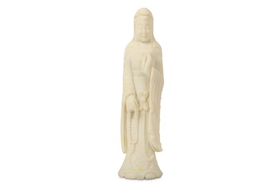 Lot 29-A CHINESE WHITE STONE FIGURE OF GUANYIN.