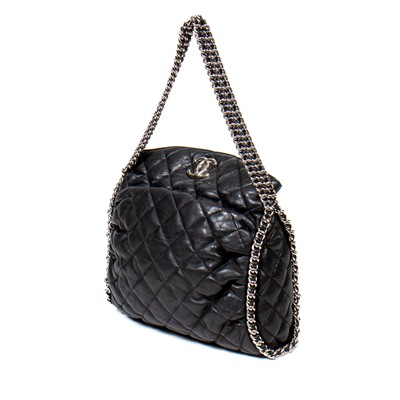 Lot 34-Chanel Black Quilted Leather Shoulder