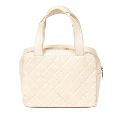 Lot 30-Chanel Cream Quilted Mini Top Handle