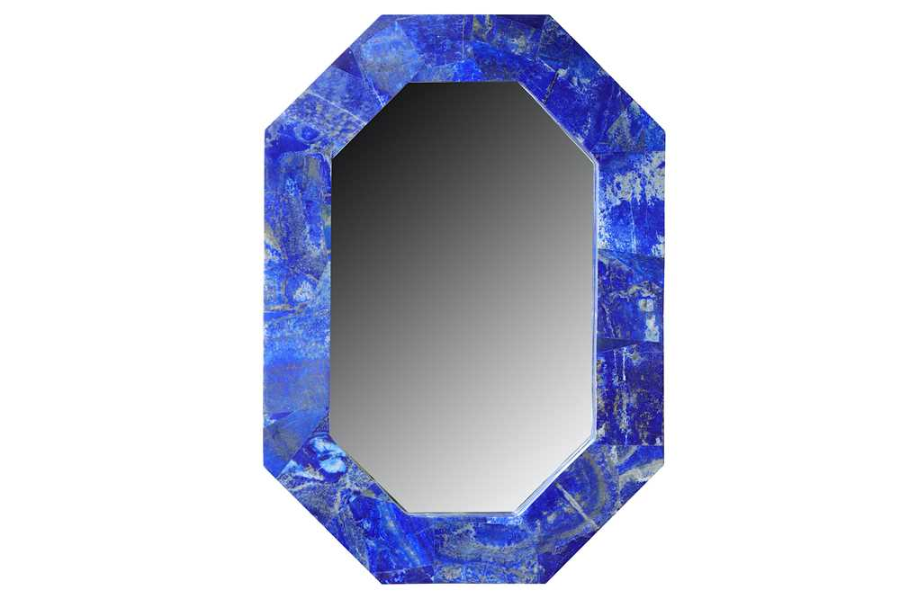 Lot 30-A contemporary lapis lazuli veneered wall mirror