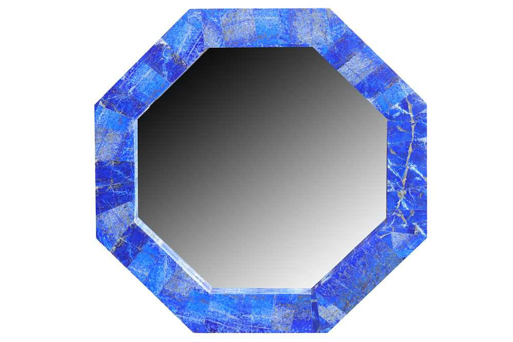 Lot 32-A contemporary octagonal lapis lazuli veneered wall mirror