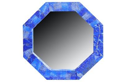 Lot 32-A contemporary octagonal lapis lazuli veneered wall mirror