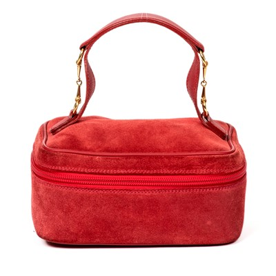 Lot 11-Gucci Red Suede Horsebit Cosmetic Case