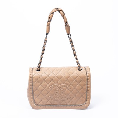 Lot 29-Chanel Beige Full Flap Logo Shoulder