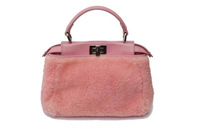 Lot 48-Fendi Pink Shearling Mini Peekaboo Bag