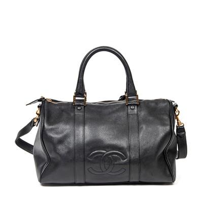Lot 39-Chanel Black Logo Boston Bag