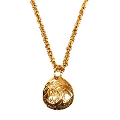 Lot 48-Chanel Tear Shaped Logo Pendant Necklace