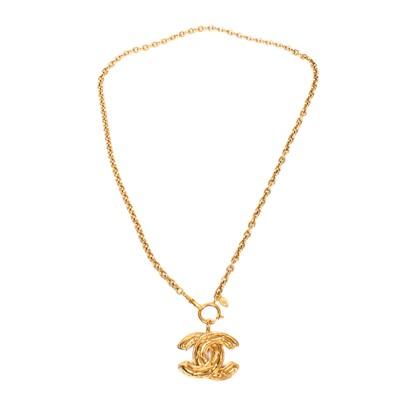 Lot 300 - Chanel Matelasse Logo Pendant Necklace