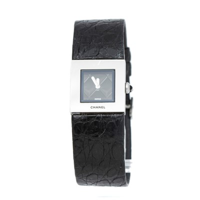 Lot 37-Chanel Black Crocodile Matelasse Watch