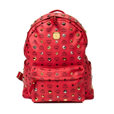 Lot 16-MCM Coral Red Stark All-Over Stud Backpack