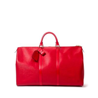 Lot 10-Louis Vuitton Red Epi Keepall 50