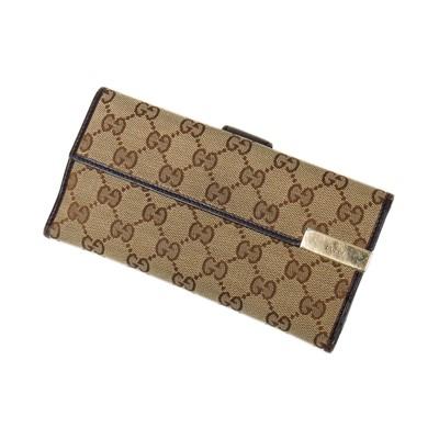 Lot 34-Gucci Beige Monogram Canvas Long Bi-Fold Flap Wallet