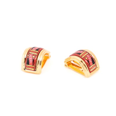 Lot 29-Hermes Red Enamel Clip On Earrings
