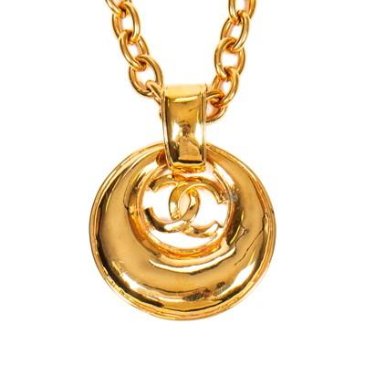 Lot 47-Chanel Large Round Logo Pendant Necklace
