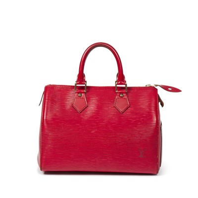 Lot 8-Louis Vuitton Red Epi Speedy 25