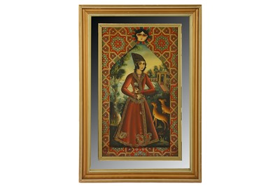 Lot 48-* A REVERSE GLASS PAINTING OF A PRINCELY QAJAR YOUTH