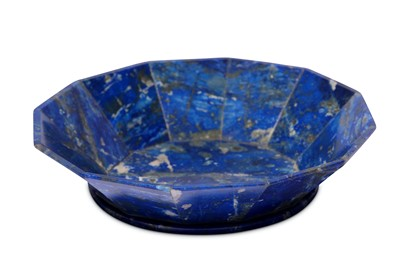 Lot 21-* A SMALL CARVED LAPIS LAZULI SAUCER