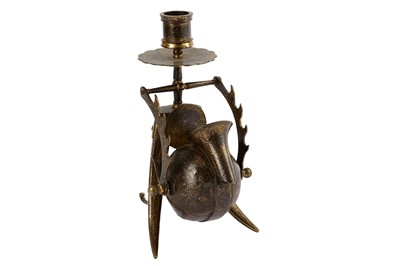 Lot 110 - * A GOLD-DAMASCENED (KOFTGARI) STEEL INKWELL AND CANDLESTICK