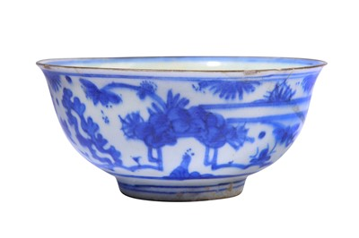 Lot 19-* A BLUE AND WHITE POTTERY BOWL