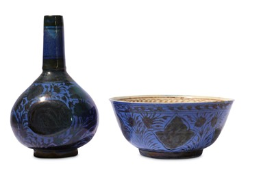 Lot 13-* A SAFAVID COPPER-LUSTRE AND BLUE POTTERY BOWL AND BOTTLE