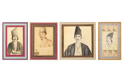 Lot 39-* A GROUP OF FOUR QAJAR BUST STUDIES