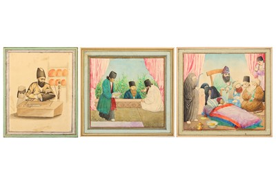 Lot 40-* THREE QAJAR WATERCOLOURS WITH COMMON DAILY LIFE SCENES