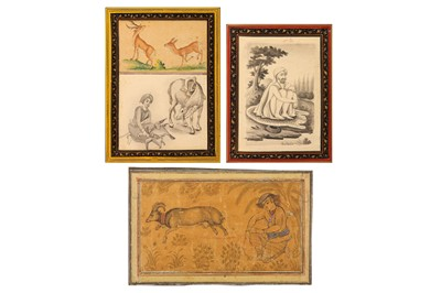Lot 38-* A YOUTH TETHERING A MOUNTAIN GOAT AND TWO SIMILAR DRAWINGS