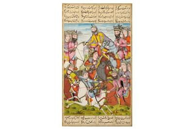 Lot 34-* AN ILLUSTRATED LOOSE FOLIO FROM A QAJAR SHAHNAMA