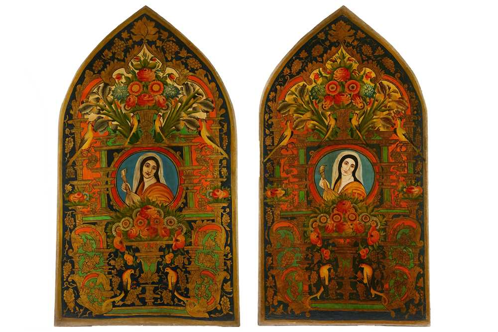 * A PAIR OF LARGE OIL PAINTINGS WITH FEMALE PORTRAITS AND FLORAL TRIUMPH...