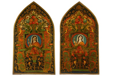 Lot 43-* A PAIR OF LARGE OIL PAINTINGS WITH FEMALE PORTRAITS AND FLORAL TRIUMPH