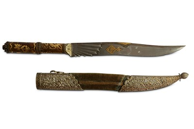 Lot 32-* AN OTTOMAN STEEL DAGGER WITH GOLD-INLAID AGATE HILT