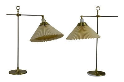 Lot 27-Le Klint, a pair of Danish adjustable steel and brass table lamps