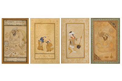 Lot 42-* FOUR ARCHAISTIC SAFAVID-REVIVAL TINTED DRAWINGS