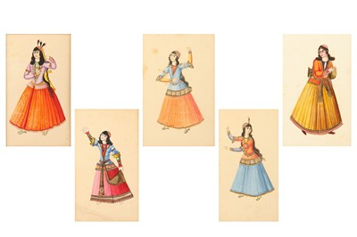 Lot 46-* A SET OF FIVE WATERCOLOURS OF QAJAR FEMALE ENTERTAINERS