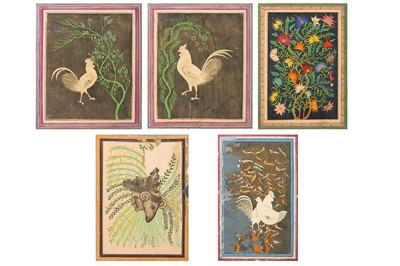 Lot 111 - * A COLLECTION OF FIVE DÉCOUPAGE LOOSE FOLIOS DEPICTING ANIMALS AND FOLIAGE