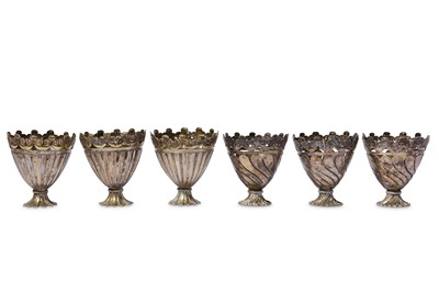 Lot 99 - * A SET OF SIX WHITE METAL CUP HOLDERS (ZARF)