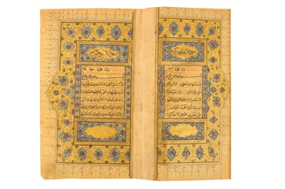 Lot 117 - AN ILLUMINATED QUR'AN COPIED BY MUHAMMAD HOSSEIN AL-LAHORI