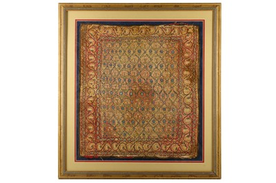 Lot 107 - * AN EMBROIDERED SILK PANEL WITH FLORAL LATTICE PATTERN