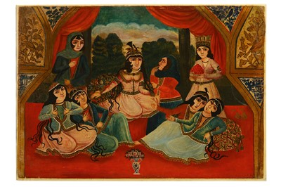 Lot 47-* A QAJAR OIL PAINTING DEPICTING YUSUF BRINGING ORANGES TO ZULEYKHA AND HER MAIDENS