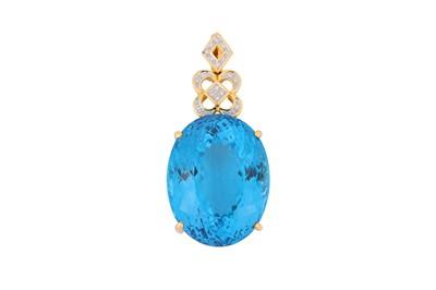 Lot 28 - A blue topaz and diamond pendant
