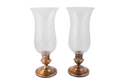 Lot 43-A pair of early 20th century Baccarat and Halycon Days storm or hurricane shades