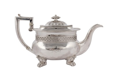 Lot 16-A George IV sterling silver three piece tea set