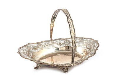 Lot 21-A George V sterling silver swing handled bread basket