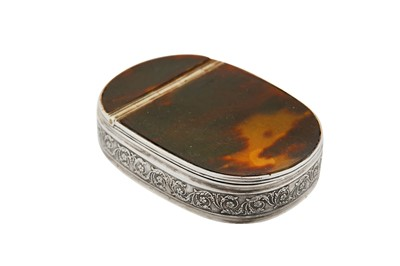 Lot 58-An early 19th century Norwegian silver and tortoiseshell snuff box, Bergen 1835 by PS(?)