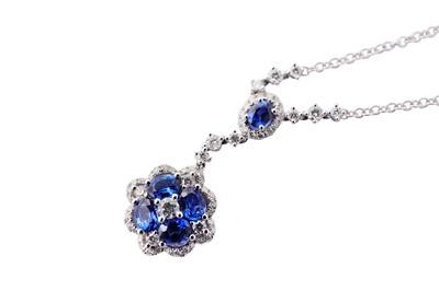Lot 38-A sapphire and diamond pendant necklace
