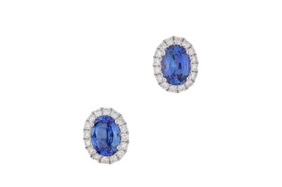 Lot 39-A pair of sapphire and diamond earstuds