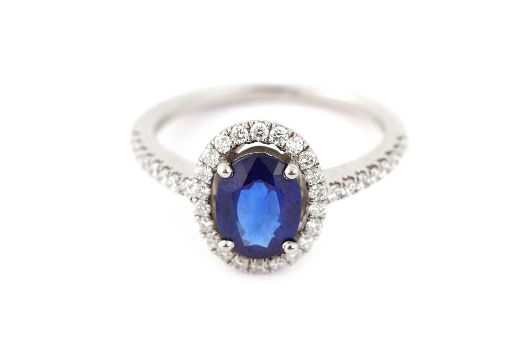 Lot 37-A sapphire and diamond ring